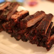 Smoked Pork Ribs with Mustard-Bourbon Sauce